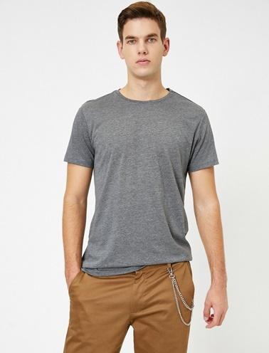 Koton Kisa Kollu Yuvarlak Yaka %100 Pamuk T-Shirt Gri